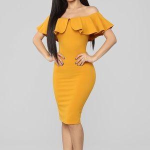 Mustard Off Shoulder Midi Dress